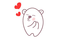 Cute Teddy Sticker pouting and feeling loved. Stock Image