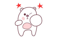 Cute Teddy Sticker Punching. Stock Photography