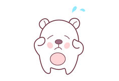 Cute Teddy Sticker Sad. Royalty Free Stock Images