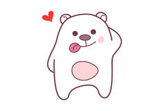 Cute Teddy Sticker with tongue sticking out and feeling loved. Royalty Free Stock Image