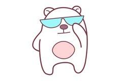 Cute Teddy Sticker wearing Sunglasses. Royalty Free Stock Photo