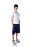 Cute teeange boy standing on white background Royalty Free Stock Image