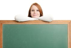 Cute teen with blank chalkboard Royalty Free Stock Photo