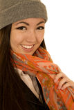 Cute teen female model wearing a winter scarf and beanie Stock Image