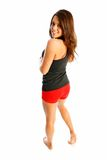 Cute teen fitness. Brunette posing in her cute shorts and tank top Stock Photography