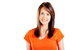 Cute teen girl. Half length portrait on white background Stock Photos