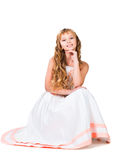 Cute teen girl with amazing long blond hairs. Isolated on white Stock Images