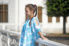 Cute teen girl in blue dress Royalty Free Stock Image