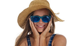 Cute teen girl in blue sunglasses Royalty Free Stock Photography