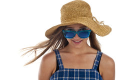 Cute teen girl in blue sunglasses Royalty Free Stock Photos