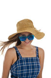 Cute teen girl in blue sunglasses Stock Photography