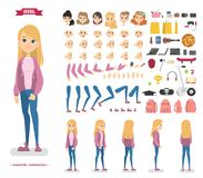 Cute teen girl character set for animation royalty free illustration