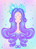 Cute teen girl with closed eyes and long hair. Mix of art nouveau and kawaii gothic style. Hipster, pastel goth, vibrant colors i. Cute teen girl with closed stock illustration