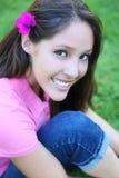 Cute Teen Girl on the Grass Stock Photos