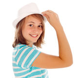 Cute teen girl in hat Royalty Free Stock Photography