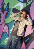 Cute Teen Girl with Headphones Stock Photography