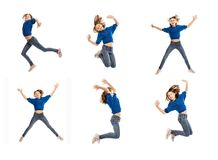 Cute teen girl in a jump, collage stock photos