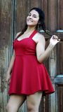 Cute Teen Girl In Red. Young pretty peruvian teen female Stock Images