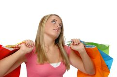 Cute teen girl shopping Stock Photos