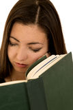 Cute teen girl sleeping not reading her book close up Stock Images