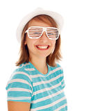 Cute teen girl in special sunglasses Stock Images