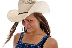 Cute teen girl in straw cowboy hat Stock Images