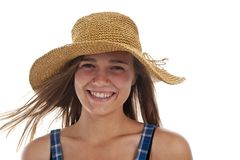 Cute teen girl in straw hat Royalty Free Stock Images