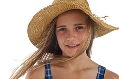 Cute teen girl in straw hat Royalty Free Stock Photo