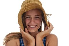 Cute teen girl in straw hat Stock Photos