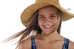 Cute teen girl in straw hat Stock Photo