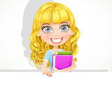 Cute teen girl with wavy hair hold a banner Royalty Free Stock Image