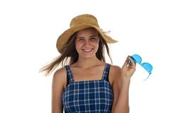 Cute teen girl wtih blue sunglasses Stock Image