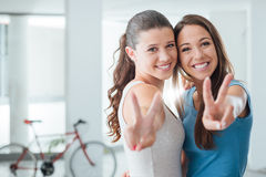 Cute teen girls smiling at camera Royalty Free Stock Photography