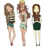 Cute teen girls. Two cute fashion teen girls stock illustration