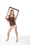 Cute Teen Holding Picture Frame Royalty Free Stock Photo