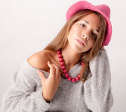 Cute Teen In Pink Hat And Necklace Stock Photos