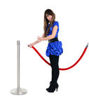 Cute teen invites guest with welcone gesture sign Stock Photo