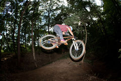 Cute teen jumping with his bike over a natural ramp in the fores. T Royalty Free Stock Image