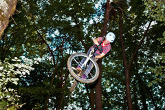 Cute teen jumping with his bike over a natural ramp in the fores. T Stock Photography