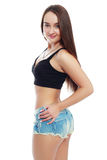 Cute teen model. Image of cute teen model posing in jeans clothes Royalty Free Stock Images