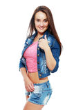 Cute teen model. Image of cute teen model posing in jeans clothes show thumb up Stock Photography