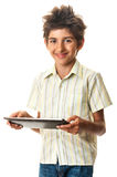 Cute teen smilling multimedia tablet Royalty Free Stock Photos