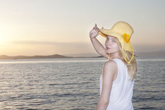 Cute teen at sunset  Royalty Free Stock Photos