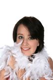 Cute Teen With Feather Boa Stock Image