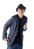 Cute teenage boy in dancing pose. Isolated on white Royalty Free Stock Photography