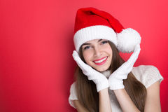 Cute teenage Christmas girl posing Royalty Free Stock Photos