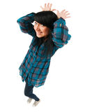 Cute teenage girl. Shot with fisheye lens on white background Royalty Free Stock Photos