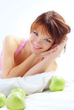 Cute teenage girl with apples Royalty Free Stock Image