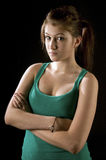 Cute teenage girl with arms crossed Royalty Free Stock Images