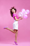 Cute teenage girl with balloons Royalty Free Stock Images
